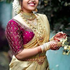 Bridal Sarees South Indian, Indian Wedding Gowns, Indian Bridal Fashion, Indian Bridal Wear, Kerala Saree Blouse Designs, Wedding Saree Blouse Designs, Half Saree Designs, South Fashion, Traditional Blouse Designs