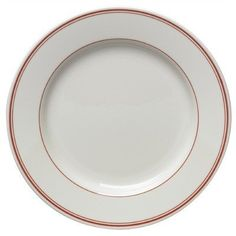 """Diner Banded 10.65"""" Dinner Plate in Scarlet [Set of 4] by Homer Laughlin. $102.36. 9249R-444 Features: -Dinner plate.-Lead free.-Fully vitrified ceramic.-Professional industrial strength.-Will not absorb moisture.-Chip resistant.-Microwave safe.-Dishwasher safe.-Oven proof.-Made in USA. Color/Finish: -Scarlet on White finish. Dimensions: -Overall dimensions: 1.25'' H x 10.65'' W x 10.65'' D. Collection: -Diner Banded collection. Warranty: -Manufacturer provides 5 y..."""