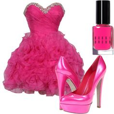A fashion look from January 2013 featuring short cocktail dresses, leather shoes and bobbi brown cosmetics. Browse and shop related looks. Pink Dress Outfits, Neon Dresses, Fuchsia Dress, Hot Pink Dresses, Cute Prom Dresses, Dresses For Teens, Homecoming Dresses, Casual Dresses, Magenta