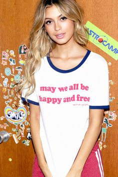 Happy and Free Ringer Tee White/ Navy - Spiritual Gangster - 1 Casual T Shirts, Casual Tops, Spiritual Gangster, Clothing Items, Yoga Clothing, Ringer Tee, Yoga Tops, Muscle Tees, Cool Tees