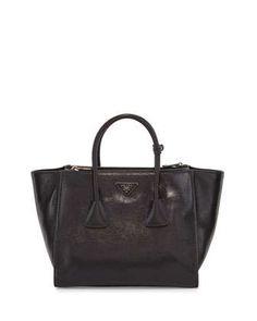 Glace+Calf+Twin+Pocket+Tote+Bag,+Black+(Nero)+by+Prada+at+Neiman+Marcus.