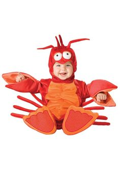 (Baby Lobster Costume.) Oh baby, you look boo-tiful! Your infant may have no clue what Halloween is all about, but her first costume is cause for much excitement for mama.