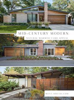 Ranch Exterior, Exterior Remodel, Mid Century Ranch, Mid Century House, Exterior House Colors, Exterior Design, Diy Exterior, Roof Design, Exterior Paint