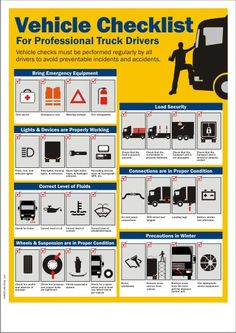 Vehicle Checklist For Truck Drivers Safety Talk, Safety Meeting, Driving Safety, Driving Rules, Safety Pins, Fire Safety, Health And Safety Poster, Safety Posters, Road Safety Tips