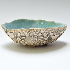 handmade bowl Ceramic Lace Bowl rustic stoneware pottery in Beach Day