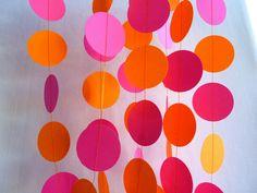 hot pink and orange paper garland