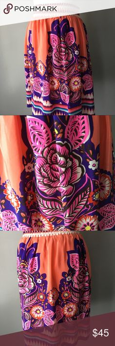 edme & esyllte Anthropologie size 0 skirt. Beautiful vibrant edme & esyllte Anthropologie skirt. In excellent new like condition. Size 0. Shell is 100 percent silk. The lining 100 percent polyester. Thanks for looking. Happy Poshing! 👚👗👕 Anthropologie Skirts