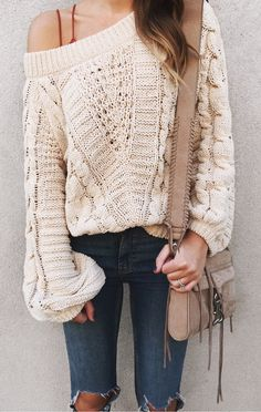 d309303499  fall  outfits women s beige knit off-shoulder sweater Classy Fall Outfits