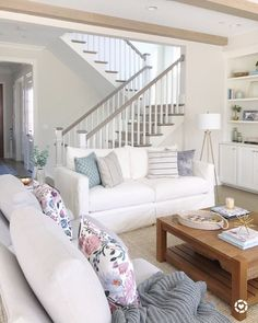 Living room with Benjamin Moore classic gray walls, open staircase, builtins, shelf decor, white sof Coastal Living Rooms, Living Room White, White Rooms, Living Room Grey, Home Living Room, Living Room Designs, Living Room Furniture, Living Room Decor, Barn Living