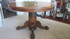 Antique Claw Foot  Tiger Oak Table by SavvyDivaCeo on Etsy