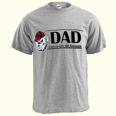 University of Georgia oxford adult t-shirt with Bulldog Head logo next to DAD and bar design. UGA