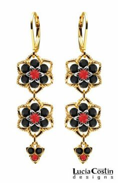 European Inspired Flower Shaped Dangle Earrings by Lucia Costin with Red, Black Swarovski Crystals, Middle Flowers and Twisted Lines; 14K Yellow Gold Plated over .925 Sterling Silver; Handmade in USA Lucia Costin. $84.00. Wonderfully designed with light siam and black Swarovski crystals. Irresistible dangle earrings by Lucia Costin. Dangle ornaments accented with floral design. Unique jewelry handmade in USA. Mesmerizing enough to wear on special occasions, but dura...