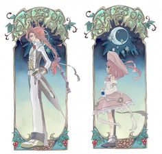 Tales of Symphonia. Zelos Wilder (left) in his formal attire outfit and his sister, Seles (right) in her normal attire.