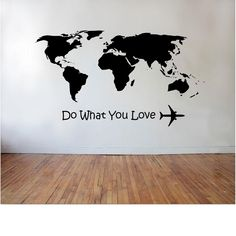 World Map Decor, World Map Wall, Travel Wall, Home Room Design, Wall Quotes, Paint Designs, Textured Walls, Wall Decals, Etsy