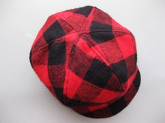 Boys hat toddler hat buffalo check black and red plaid cap toddler boy hat patchwork hat - Ryan