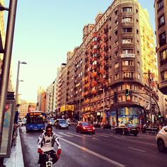 Summer Sunset 2 #Madrid #Spain #Street #Bike #GranVia (Taken with Instagram at Calle Gran Vía)