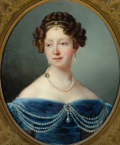 Grand Duchess Anna Pavlovna by Francois-Joseph Kinsoen (Bowes Museum, Barnard Castle UK) Historical Hairstyles, 1800s Clothing, Barnard Castle, Joseph, Victorian Hairstyles, Miniature Portraits, Orange Art, Russian Fashion, Female Fashion
