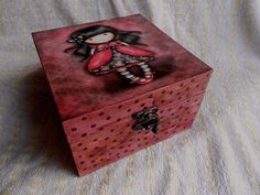 Decoupage wooden box with dots gift for girl decoupage by Okisshop