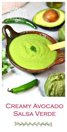 Green salsa with avocado Easy & Delicious Creamy Avocado Salsa Verde Recipe. Authentic Mexican Recipes, Mexican Salsa Recipes, Mexican Dishes, Mexican Salsa Verde, Authentic Salsa Recipe, Avocado Dessert, Avocado Food, Avocado Salsa Verde Recipe, Avocado Tomatillo Salsa