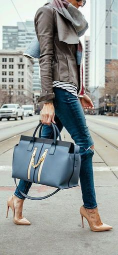 OOTD | Jeans | Leather Jacket |Striped Shirt | Handbag | Fashion | Fashionistas | Casual