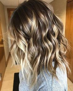 Wavy Long Bob + Golden Blonde Balayage Highlights