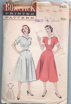 1950s vintage pattern Butterick 6431 1953 size 16 bust 34 waist 28 hips 37 misses one piece dress Mad Men