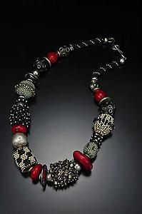 Beaded Bead Necklace - Silver, Black, Red, and Jade: Julie Powell: Beaded Necklace | Artful Home