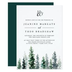 Fall in love with beautiful forest wedding invitations for your own rustic forest wedding party and receive OFF when ordering wedding cards Monogram Wedding Invitations, Rustic Bridal Shower Invitations, Winter Wedding Invitations, Rehearsal Dinner Invitations, Engagement Party Invitations, Bridal Shower Rustic, Elegant Wedding Invitations, Wedding Invitation Cards, Rehearsal Dinners