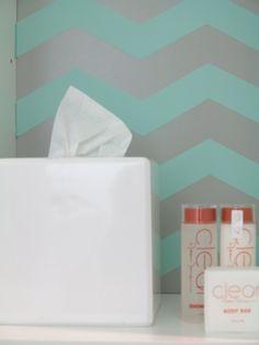 #IKEA #Fullen bathroom #shelf unit with PANYL chevrons in Robin's Egg #Blue.