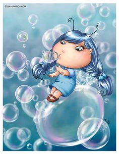 Bubble Fairy by Lia Selina Blowing Bubbles, Cute Images, Cute Pictures, Creation Photo, Kobold, Bubble Art, Dibujos Cute, Flower Fairies, Fairy Art