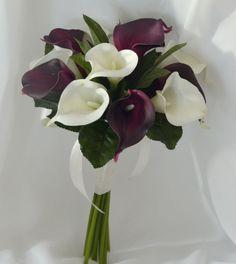 SILK WEDDING BOUQUET LATEX CALLA LILY WHITE EGGPLANT PURPLE POSY FLOWER FLOWERS