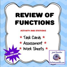 Great Practice/Review/Test/HW for Unit on Functions.  This multi-version bundled activity is designed for an End of Unit for Functions in Algebra 2, PreCalculus or College Algebra, or as a review for Calculus 1.  There are four versions   of the assessment/ worksheet/study guide; two multiple choice and two free response, all with answer keys.