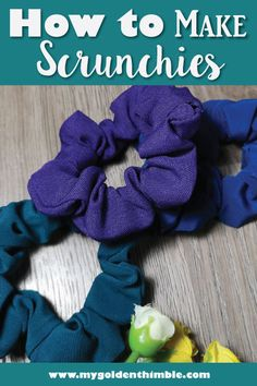 Learn how to make your own DIY Scrunchies with these 3 easy video tutorials. I will teach you how to make scrunchies with elastic, with hair ties and the no-sew option as well. to make scrunchies with hair ties Scrap Fabric Projects, Easy Sewing Projects, Sewing Projects For Beginners, Sewing Hacks, Sewing Tutorials, Video Tutorials, Sewing Tips, Sewing Ideas, Fabric Crafts