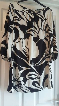 251fa8b1a98 EXCELLENT CONDITION H&M BLACK AND WHITE PRINT TUNIC TOP SIZE 8-10 #fashion #