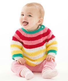 Crochet Colorful Striped Pullover – Free Pattern - 14 Free Crochet Sweater Patterns for Babies - DIY & Crafts