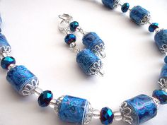Madison  Paper bead necklace and earrings in blue by honeybiscuits, $22.00