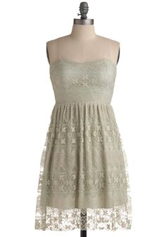 In Awe of You Dress - Green, Tan / Cream, Solid, Floral, Embroidery, Lace, Party, Casual, Vintage Inspired, A-line, Empire, Strapless, Spring, Summer, Mid-length