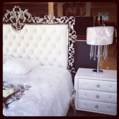 Swarovski crystal white bedroom set pillow top and leaf would and metal accent. Love!