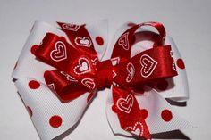 Valentine Day Girls Stacked Polka Dot Hair Bow Handmade Girls Valentine Hair Bow by RachelsHairBowtique on Etsy