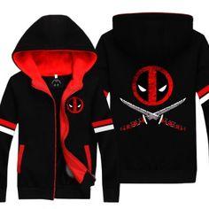 wade wilson deadpool hoodie with zipper superhero fleece lined  hooded sweatshirt for teens | Sweatshirtxy.com