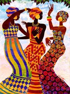 CELEBRATION by Keith Mallett~Three women dance in a joyful Celebration of life. This colorful open edition print is hand signed by the artist.