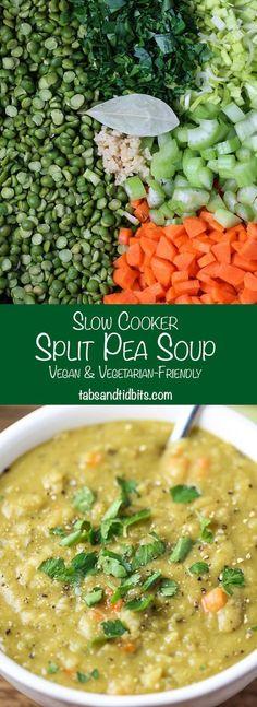 Cooker Split Pea Soup Slow Cooker Split Pea Soup - A vegan amp; vegetarian-friendly split pea soup made in the slow cooker.Slow Cooker Split Pea Soup - A vegan amp; vegetarian-friendly split pea soup made in the slow cooker. Crock Pot Recipes, Veggie Recipes, Slow Cooker Recipes, Soup Recipes, Whole Food Recipes, Cooking Recipes, Healthy Recipes, Vegetarian Crockpot Recipes, Crock Pots