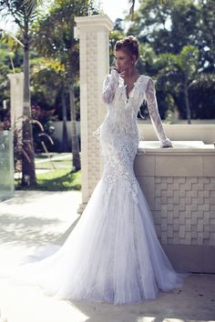 Long-sleeved lace and tulle wedding dress (2014 Bridal Collection by Nurit Hen)