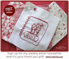 """Sign up for my free newsletter and receive this pretty """"2015 Redwork Tulips"""" pattern as a gift!"""
