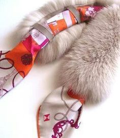 MaiTai Collection: MaiTai Collection SAGA fox fur collar in poudre Awesome idea.add loops to fur, and insert whatever scarf you like Diy Kleidung, Fur Accessories, How To Wear Scarves, Fur Fashion, Diy Clothing, Fur Collars, Fox Fur, Scarf Styles, Ideias Fashion