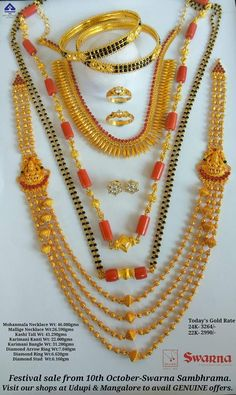 Gold Jewelry Simple, Coral Jewelry, Bridal Jewelry, Beaded Jewelry, Jewelry Design Earrings, Gold Jewellery Design, Indian Jewelry, Kerala Jewellery, Gold Mangalsutra Designs