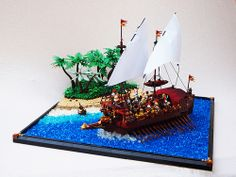 Venetian War Galley (by Mark of Falworth) Lego Boot, Lego Structures, Lego Ship, Cool Lego, Awesome Lego, Lego Construction, Lego Modular, Lego Castle, Lego Brick