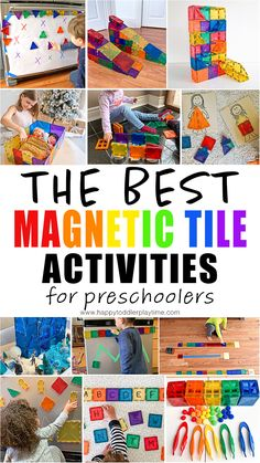 If you are looking for fun ideas, learning activities and the best ways to make the most of your magnetic tiles then you have come to the right place. Preschool Learning Activities, Indoor Activities For Kids, Preschool Activities, Teaching Kindergarten, Morning Activities, Preschool Curriculum, Color Activities, Preschool Classroom, Infant Activities