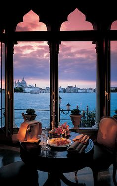 Hotel Cipriani, Venice, Italy....Romantic; I hope she will like the table i have chosen...?......