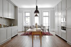 FAV!! Grey cabinets and wooden floors